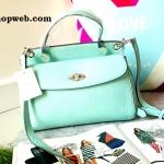 กระเป๋าถือ Mango Tote Bag with turn lock 2015 สีฟ้าน้ำทะเล สดใส