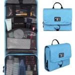 กระเป๋าใส่อุปกรณ์ห้องน้ำ คุณภาพสูง ใส่อุปกรณ์อาบน้ำ แขวนได้ สำหรับเดินทาง ท่องเที่ยว (สีฟ้า)