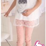 กางเกงเลคกิ้งผ้ายีนส์ยืดได้สำหรับสาวตั้งครรภ์ สีชมพู