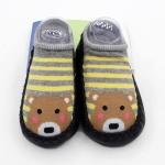 ถุงเท้ารองเท้า มีกันลื่น เนื้อผ้านุ่มนิ่ม สำหรับเด็กวัย 6-12m/12-18m ลายหมีริ้วเทาเหลืองพื้นดำ