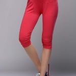 กางเกงเลกกิ้งคลุมท้อง 3 ส่วน ปลายขาเย็บยืดย่น สีชมพู