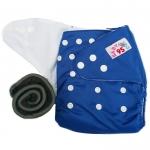 กางเกงผ้าอ้อมกันน้ำ+แผ่นซับชาโคลหนา5ชั้น Size 3-16 kg.-Dark Blue