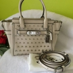 COACH 57696 Chalk Studded Leather Swagger Caryall Crossbody Bag
