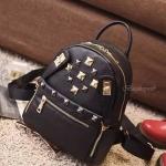 กระเป๋าเป้หนังงานสวย งานเทห์ สไตล์ mcm ประดับหมุดทอง ขนาดมินิ backpack สีดำ