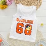 เสื้อกล้ามเด็กเล็กสีขาว ลายบาสเก็ตบอล วัย 6-18 เดือน