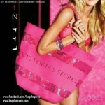 VICTORIA'S SECRET Pink Tote Bag Sequins Striped