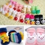ถุงเท้าเด็กอ่อนสามมิติ มีกันลื่น สำหรับเด็กทารกวัย 0-6 เดือน