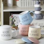 แก้วเซรามิคพร้อมฝาปิด Good Morning