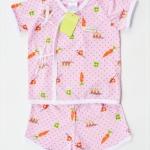 ชุดผูกหน้า เสื้อแขนสั้น+กางเกงขาสั้น Size: 6M (6 เดือน)-สีชมพู ลายแครอท
