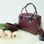 กระเป๋า Amory Leather Mini Durable Classic bag สีแดงเข้ม