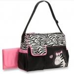 กระเป๋าใส่ของเด็กอ่อน Babyboom สีชมพูดำลายม้าลาย
