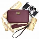 กระเป๋าสตางค์ สีแดง พร้อมสายคล้องมือ และสายโซ่ ZARA BASIC COLLECTION Chain Strap Clutch Wallet