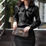 เสื้อชีฟอง(โบว์)-ดำ