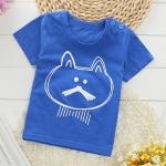 เสื้อยืดเด็กเล็ก ลายแมวสีฟ้าเข้ม มีกระดุมข้างคอ สำหรับเด็กวัย 1-4 ปี
