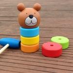 ตุ๊กตาค้อนตอกหมีไม้ ของเล่นทาวเวอร์สีรุ้ง