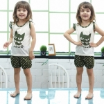 ชุดเสื้อแขนกุดมีระบาย+กางเกงขาสั้นเด็ก ลายแมวน้อยสีดำ size 90 110 120 130