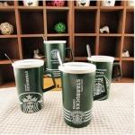 แก้วกาแฟสตาร์บัคสีเขียวพร้อมฝาปิด