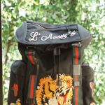 GC Tiger and Slogan Embroidered canvas backpack