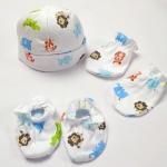 Set หมวก+ถุงมือ+ถุงเท้าทารก Carter's ผ้ายืดสีขาวพิมพ์ลาย