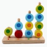 ของเล่นไม้ สวมหลัก นับเลข เรียงสี 4 เสา