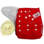 กางเกงผ้าอ้อมกันน้ำ+แผ่นซับไมโครฯหนา3ชั้น Size 3-16 kg.-Red