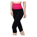 กางเกงออกกําลังกายผู้หญิง เลกกิ้งออกกำลังกาย ขา 5 ส่วน สีชมพู