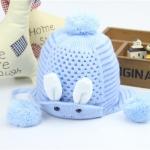 หมวกถัก(กระต่าย)สีฟ้า