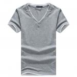 เสื้อยืดแขนสั้นคอวี สีเทาและสีดำ Size M