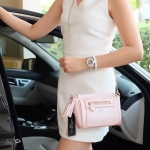 กระเป๋า KEEP saffiano leather 3in1 with chain strap Glitter pink