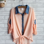 เสื้อซีฟองบางหลวม สีชมพู