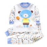 ชุดนอนเด็กเล็ก แขนยาว+ขายาว ลายการ์ตูนหมีสีฟ้า สำหรับเด็ก 1-3 ปี