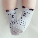 ถุงเท้าเด็กเล็ก ลายหมีสีเทา มีหูเล็กๆ ตรงขอบยางยืด สำหรับเด็ก 0-2/2-4 ปี