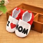 รองเท้าหัดเดินเด็กอ่อน ลาย I love Mom วัย 0-12 เดือน