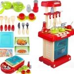 ของเล่นชุดเคาน์เตอร์ครัวมินิ พร้อมอุปกรณ์ทำอาหารสำหรับคุณหนูครบเซต สีแดงสไตล์โมเดิร์น