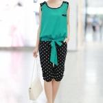 ชุดเสื้อกางเกง สไตล์ลูกไม้ shirring สีขาวและสีเขียว