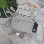 กระเป๋า KEEP saffiano leather 3in1 with chain strap Light grey