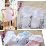 ถุงเท้าระบายลูกไม้เด็กหญิงข้อสั้น มีสีขาว/ชมพู Size 2-4 / 3-5