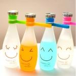ขวดแก้ว ลาย Happy smile < พร้อมส่ง >