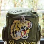 กระเป๋าเป้แฟชั่นสไตล์ Gucci Tiger and Slogan Embroidered canvas backpack สีเขียว