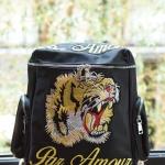 กระเป๋าเป้แฟชั่นสไตล์ Gucci Tiger and Slogan Embroidered canvas backpack สีดำ