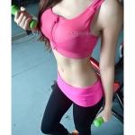 สปอร์ตบรา Sport Bra เล่นฟิตเนต วิ่ง โยคะ ยืดตัว Level4 - สีชมพู