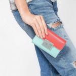 CHARLES & KEITH PUSH-LOCK WALLET NEW ARRIVAL 2017 กระเป๋าเงินใบกลาง สีฟ้า
