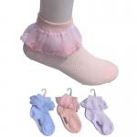 ถุงเท้าลูกไม้เด็กหญิง สวยหวาน มีให้เลือก 3 สี ขาว ฟ้า ชมพู