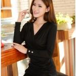 เสื้อแขนยาวคอวี Shirring(สีดำ)