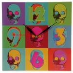 นาฬิกาหัวกระโหลก ทรงเหลี่ยม Skull Wall Clock