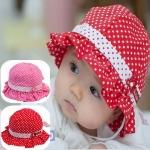 หมวกเด็กหญิง วัย 6-24 เดือน ลายจุด มีระบาย น่ารัก