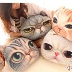 หมอนซุกมือลายหน้าแมว 3D