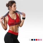 สปอร์ตบรา ชุดกีฬาผู้หญิง รุ่นซิปหน้า รองรับแรงกระแทกระดับ 4 ใส่สบาย - สีแดง