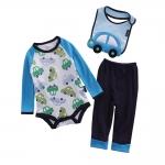 เซตเสื้อผ้าเด็ก Cuddle me บอดี้สูทแขนยาว+กางเกงขายาว+ผ้ากันเปื้อน ลายรถสีฟ้าเขียว