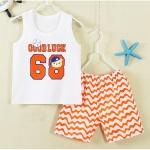 ชุดเด็กเล็ก เสื้อกล้าม+กางเกงขาสั้น สีขาวสลับส้ม ลายบาสเก็ตบอล มีขนาด 1-3 ขวบ